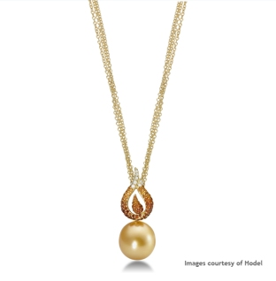 Hodel 18K Yellow Gold Golden South Sea Pearl, Diamond and Spessartite Garnet Necklace