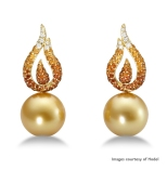 Hodel 18K Yellow Gold Golden South Sea Pearl, Diamond and Spessartite Garnet Earrings