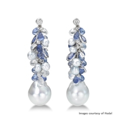 Hodel South Sea baroque pearl (14.2-14.3mm) and keshi pearl earrings with sapphires, white sapphires and diamonds in 750 white gold