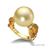 Hodel 18K Yellow Gold Golden South Sea Pearl, Diamond and Spessartite Garnet Ring