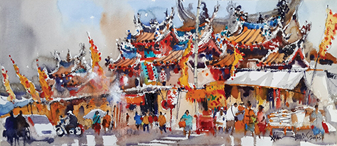 161004 Nine Emperor God Festival @ Burmah Rd, Penang 25x56cm Watercolour