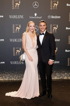 BERLIN, GERMANY - NOVEMBER 16: Janin and Kostja Ullmann arrive at the Bambi Awards 2017 at Stage Theater on November 16, 2017 in Berlin, Germany. (Photo by Isa Foltin/Getty Images for Kryolan) *** Local Caption *** Kostja Ullmann;Janin Ullmann