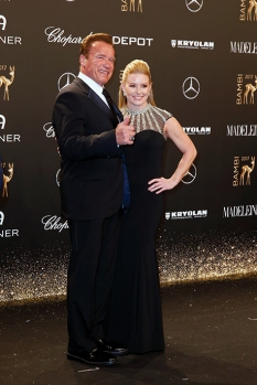 BERLIN, GERMANY - NOVEMBER 16: Arnold Schwarzenegger and his partner Heather Milligan arrive at the Bambi Awards 2017 at Stage Theater on November 16, 2017 in Berlin, Germany. (Photo by Isa Foltin/Getty Images for Kryolan) *** Local Caption *** Arnold Schwarzenegger;Heather Milligan