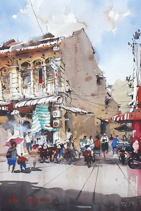Kimberly Street Kopitiam, Penang 56x38cm Watercolour
